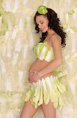 beautiful pregnant woman in lingerie from cabbage