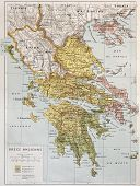 Old map of Ancient Greece. By Paul Vidal de Lablache, Atlas Classique, Librerie Colin, Paris, 1894