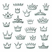 Doodle Crowns. Sketch Crown Queen King Coronet Urban Grunge Ink Art Crowning Vintage Coronal Icons M poster