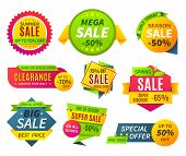 Sale Banners. Price Tag Promotion Stickers Labels And Coupons, Sale Ribbon Shape Offer Badge. Vector poster