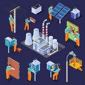 Electrical Station And Electricians, Workers Isometric Vector Set. Engineer Electrician, Electrical  poster