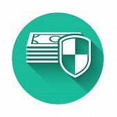 White Money Protection Icon Isolated With Long Shadow. Financial Security, Bank Account Protection,  poster