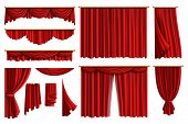 Red Curtains. Set Realistic Luxury Curtain Cornice Decor Domestic Fabric Interior Drapery Textile La poster