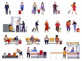 People Airport Set. Family Travel Registration Passport Control Checkpoint Security Airport Terminal poster