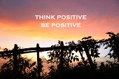Inspirational Motivational Quote- Think Positive, Be Positive. With Natural Wooden Fence And Wild Pl poster