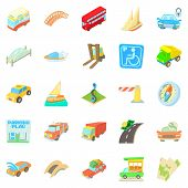 Excellent Route Icons Set. Cartoon Set Of 25 Excellent Route Icons For Web Isolated On White Backgro poster