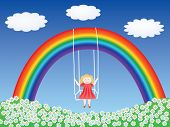 stock photo of fairy-tale  - girl in a swing hanging on rainbow vector illustration - JPG
