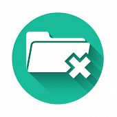 White Delete Folder Icon Isolated With Long Shadow. Folder With Recycle Bin. Delete Or Error Folder. poster