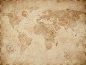 Vintage old world map illustration poster