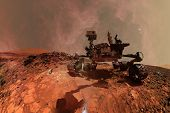 Curiosity Mars Rover Exploring The Surface Planet Of Mars. Elements Of This Image Furnished By Nasa. poster