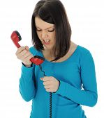 pic of bitchy  - The angry girl with a red handset - JPG