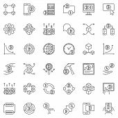 Blockchain And Cryptocurrency Concept Outline Icons Set. Vector Collection Of Blockchain Linear Symb poster
