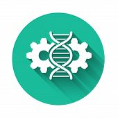 White Gene Editing Icon Isolated With Long Shadow. Genetic Engineering. Dna Researching, Research. G poster