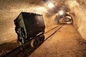 stock photo of underpass  - Underground train in mine - JPG
