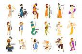Greek Gods Set, Dionysus, Hermes, Hephaestus, Zeus, Hades, Poseidon, Aphrodite, Artemis Ancient Gree poster