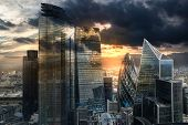 City Of London, Uk. Skyline View Of The Famous Financial Bank District Of London At Golden Sunset Ho poster