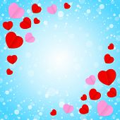 Square Blue Frame And Red Pink Heart Shape For Template Banner Valentines Card Background, Many Hear poster