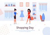 Fashion Clothing Store Banner With Shop Interior, Clothing On Hangers And Bags On Shelves, Fitting R poster