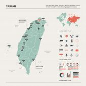 Vector Map Of Taiwan. High Detailed Country Map With Division, Cities And Capital Taipei. Political  poster