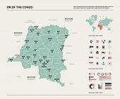 Vector Map Of Dr Of The Congo. High Detailed Country Map With Division, Cities And Capital Kinshasa. poster