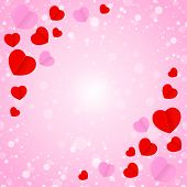 Square Frame And Red Pink Heart Shape For Template Banner Valentines Card Pink Background, Many Hear poster