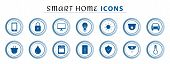 Set Of Smart Home Line Icons, Wireless Temperature And Light Control, Air Conditioning, Security. In poster