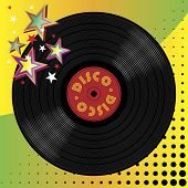 stock photo of pop art  - Vinyl disco music plate with art background - JPG