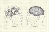 stock photo of cerebrum  - Two opposite profiles with brain and gears inside heads - JPG