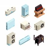 Air Conditioner. Heating And Cooling Systems Various Types With Compressors And Pressure Pipes Vecto poster