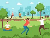 Outdoor Sport Activities. Fitness People Making Some Exercises In Park Outdoor Vector Couples. Illus poster