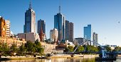 stock photo of cbd  - The Melbourne skyline from Southbank looking towards Flinders Street station - JPG