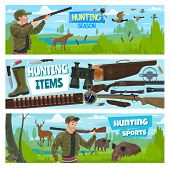 Hunter Club Open Season, Hunt Animals And Birds Banners. Vector Hunter With Ammo Equipment, Rifle Gu poster
