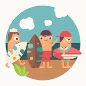 Surfing Poster. Funny Cartoon Surfers With Surfboard On Beach. Vector Illustration. Retro Design. Em poster