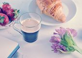 Morning  Romantic Breakfast - Coffee Mag, Flowers Lily Of The Incas,  Croissant, Strawberries - Macr poster