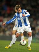 BARCELONA - FEB, 4: Antoine Griezmann of Real Sociedad in action during the Spanish league match aga