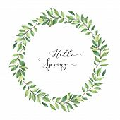Hand Drawn Watercolor Illustration. Wreath With Botanical Spring Leaves. Greenery. Floral Design Ele poster