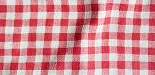 Red Linen Picnic Tablecloth. Texture Of Checkered Picnic Blanket. poster