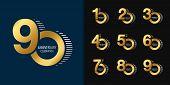 Set Of Anniversary Logotype. Golden Anniversary Celebration Emblem Design For Company Profile, Bookl poster