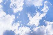 Sky Landscape. Blue Sky Background With White Dramatic Clouds, Dramatic Cloudy Sky Scene. Sky Landsc poster