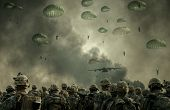 Helicopter And Forces In Destroyed City With Forces Parachuting In Sky poster