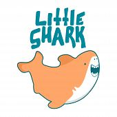 Shark Vector Cartoon Seafish, Cute Smiles And Waves Fin In Kawaii Style Illustration And Lettering L poster