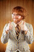 image of ginger man  - Excited 60s Game Show Host Giving 2 Thumbs Up audience - JPG