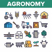 Agronomy Industry Vector Thin Line Icons Set. Agronomy Machinery Linear Illustrations. Growing Crops poster