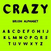 Crazy. Brush Painted Alphabet Illustration On Green Background. Vector. poster