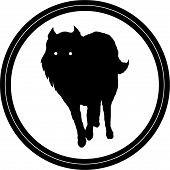 The Vector Logo Dog  Or Wolf For Tattoo Or T-shirt Design Or Outwear.  Cute Print Style Dog  Or Wolf poster