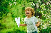 Happy Boy With Toy Airplanes. Child Dream Pilot On Green Nature Background. Child Pilot Aviator With poster