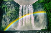Iceland waterfall Skogafoss in Icelandic nature landscape. Famous tourist attractions and landmarks  poster