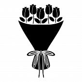 Bouquet Of Flowers Bouquet Of Roses Present Concept Bouquet Of Rose Flower Icon Black Color Vector I poster