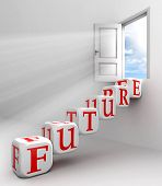 stock photo of door  - future red word conceptual door with sky and box ladder in white room metaphor - JPG