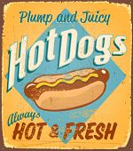 image of hot dogs  - Vintage tin sign  - JPG